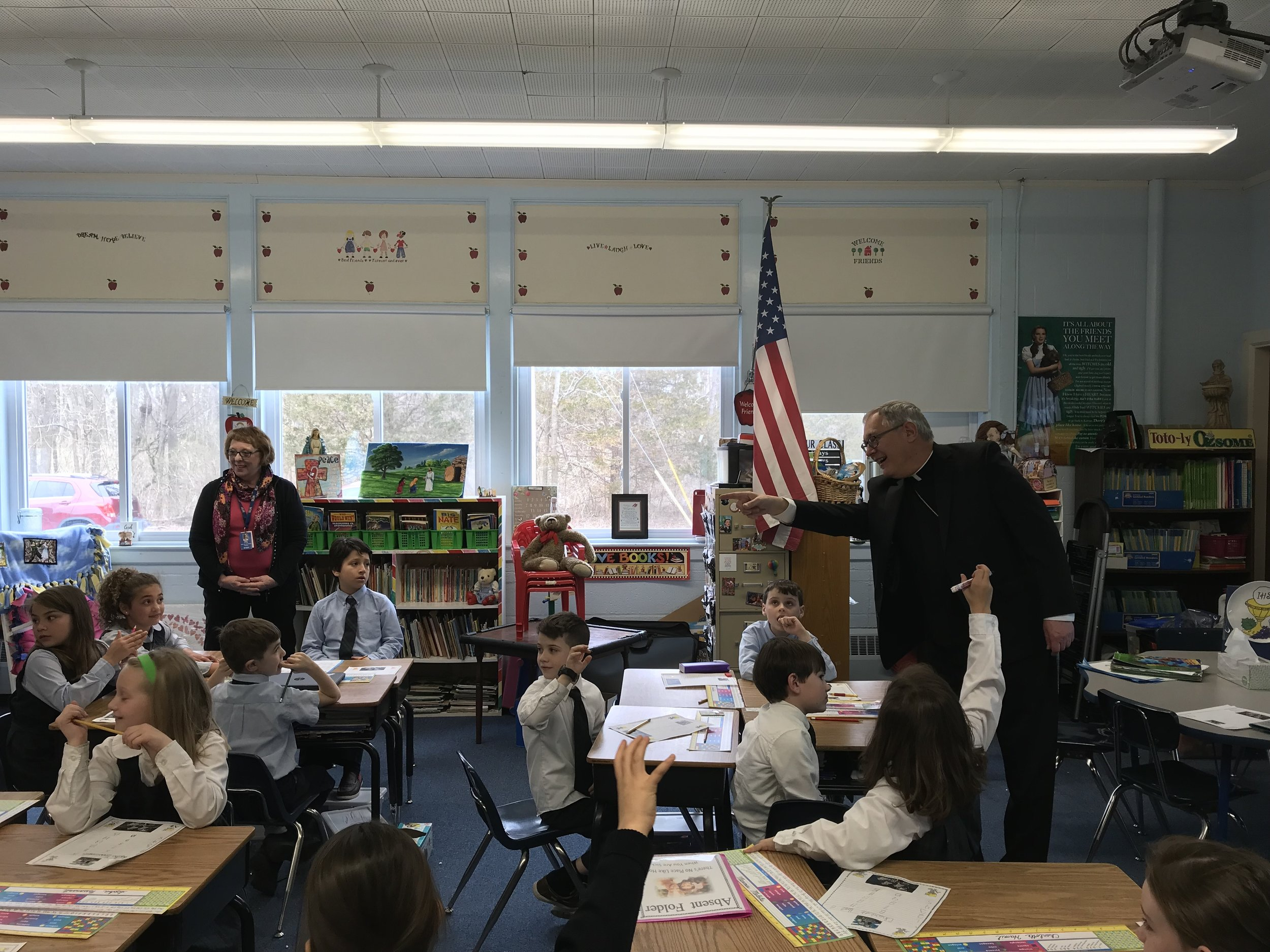 Bishop Tobin answers questions from Mrs. Ryan's Second Grade Class.