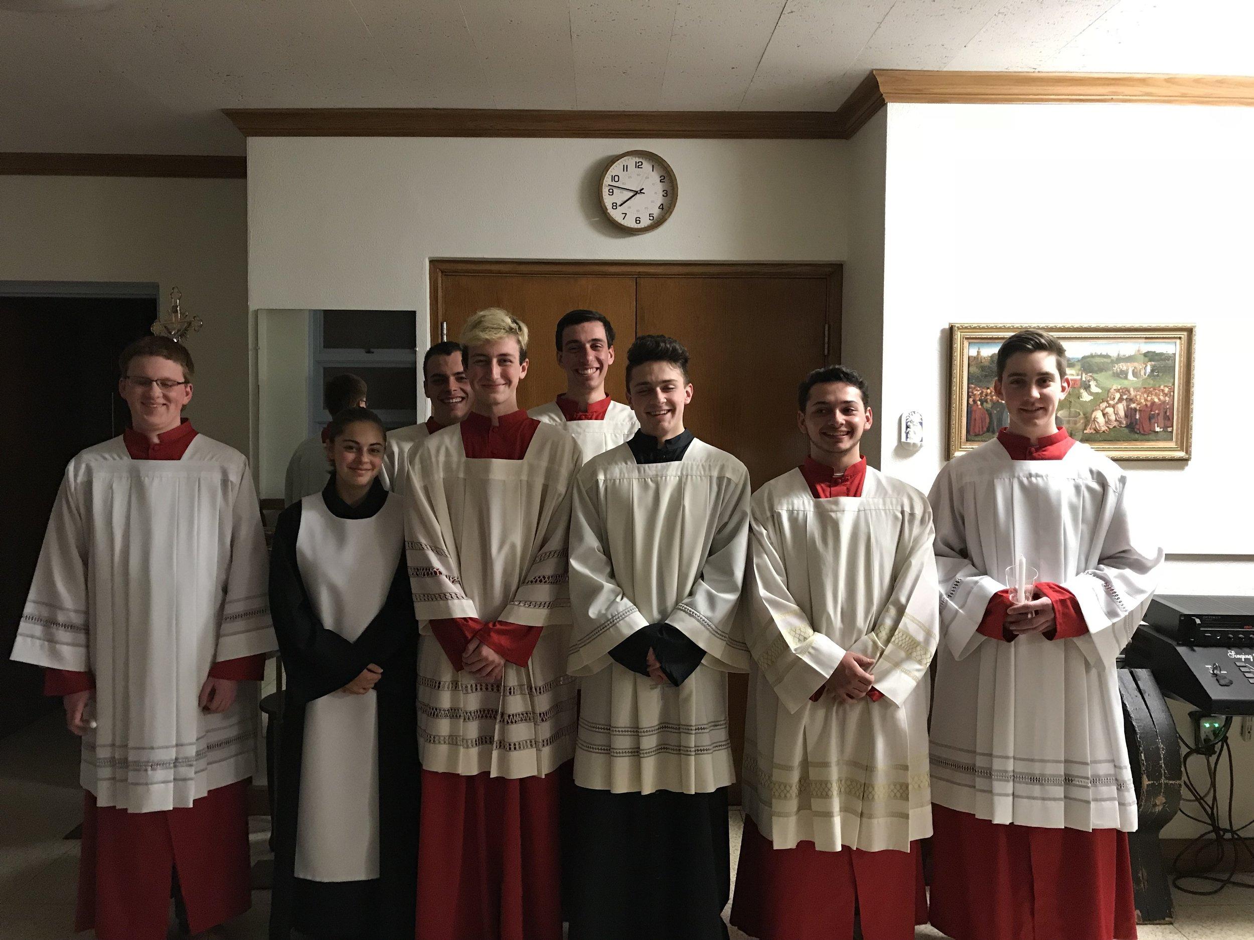 OLM Senior Altar Servers pose in the sacristy prior to Easter Vigil, March 31, 2018.
