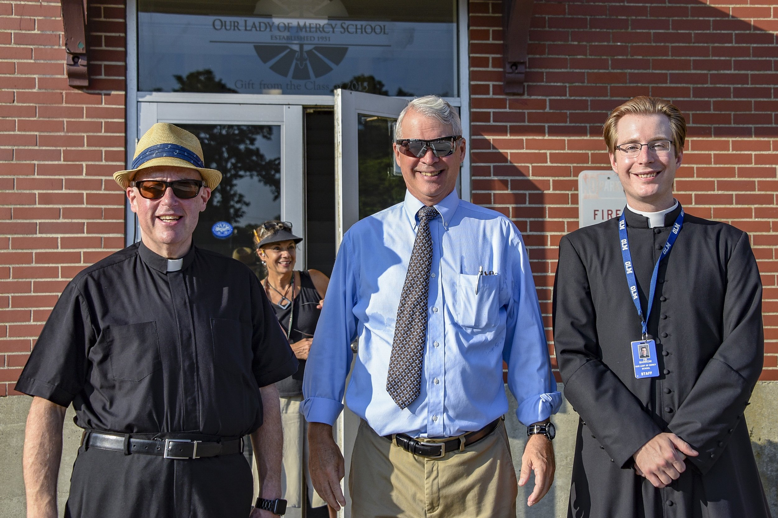 Mr. Fuller with Fr. Healey and Fr. Barrow on the First Day of School 2019!