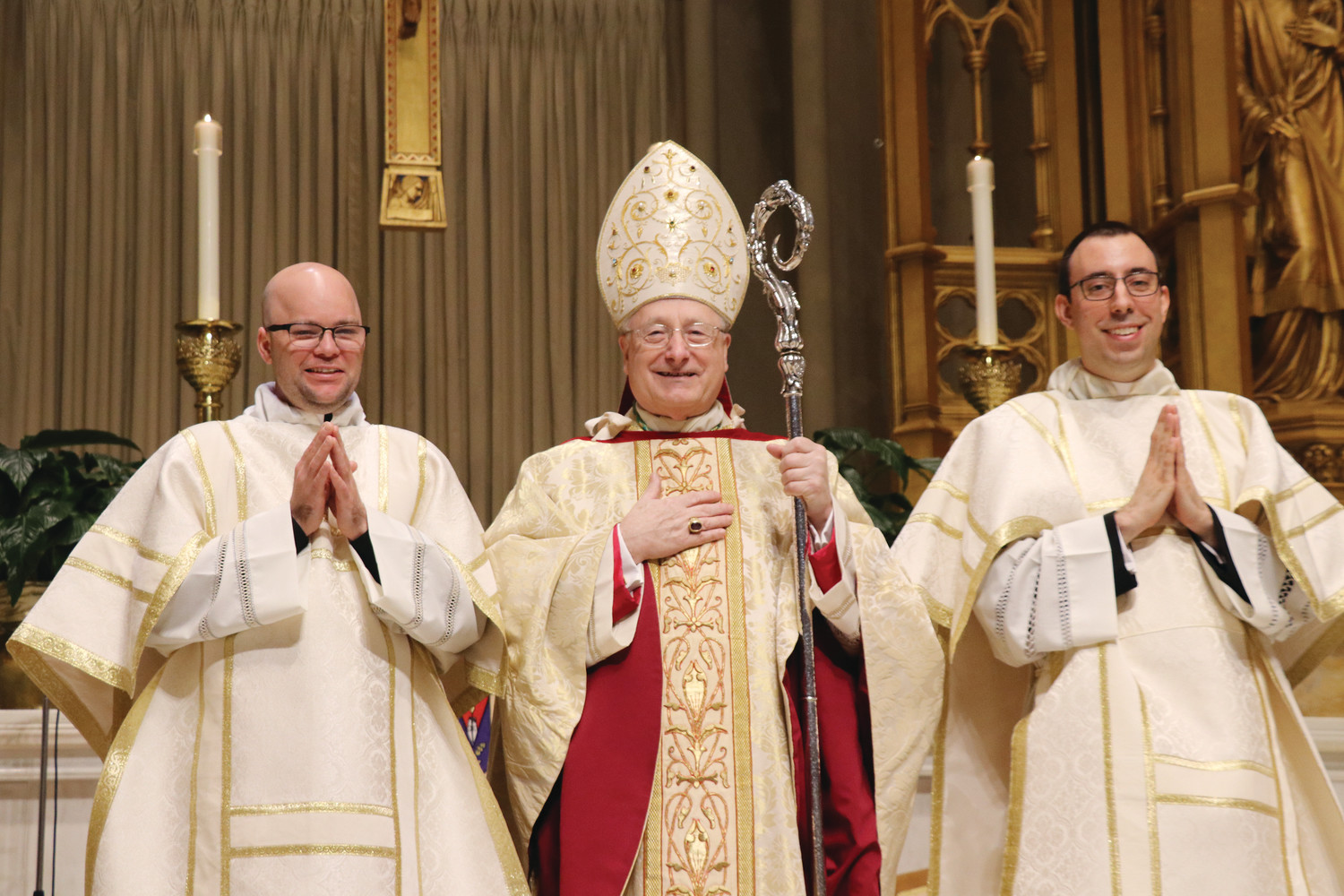 Father Rowley, Bishop Evans and Father Silva at Ordination to the Diaconate, May 2018.