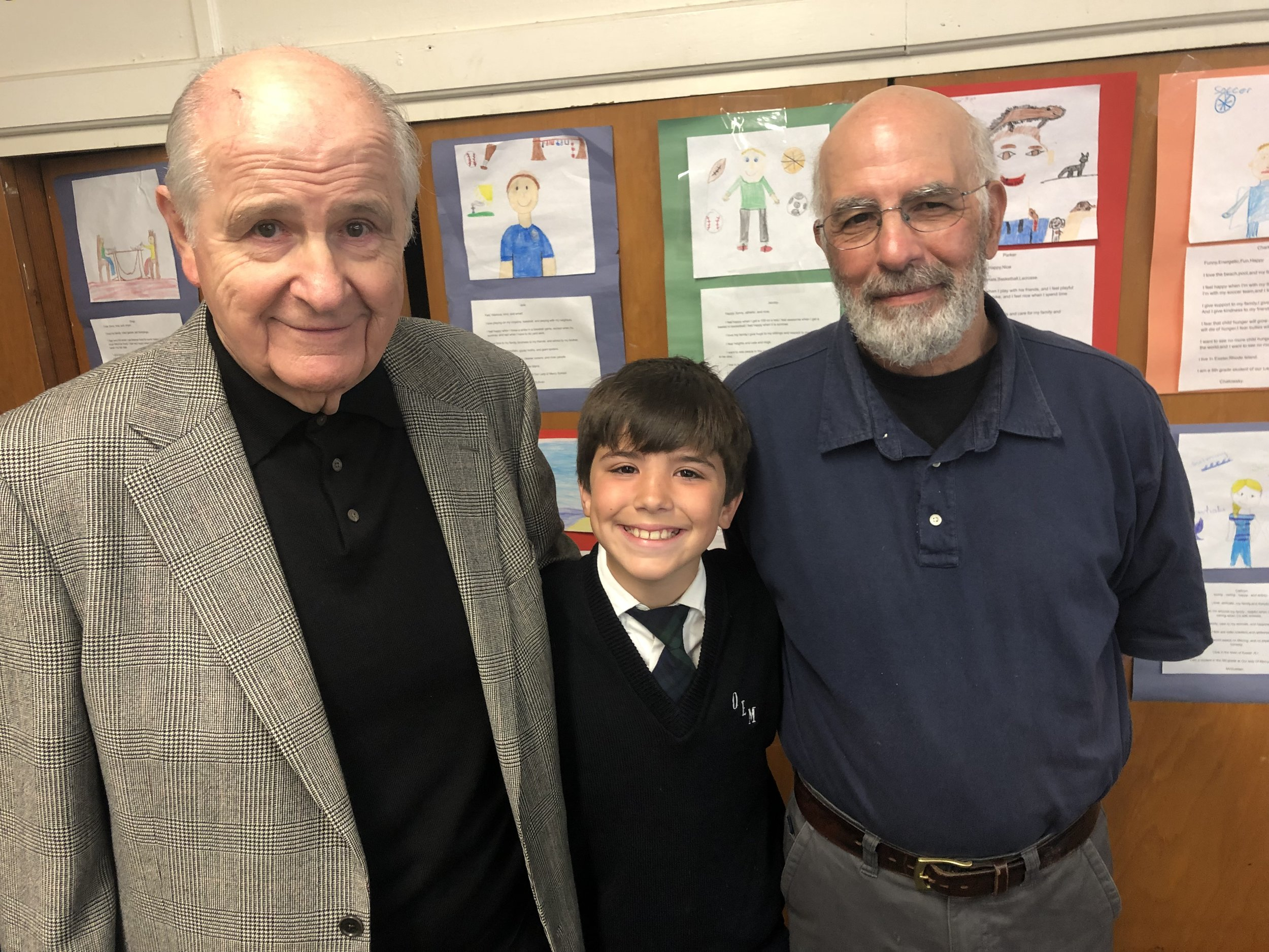 OLM School Fifth Grader Jeremiah Murphy (Warwick) welcomed grandfathers John Murphy and Rodney Sorrentino to the Fifth Annual OLM School Grandparents Day celebration on Thursday, May 30.