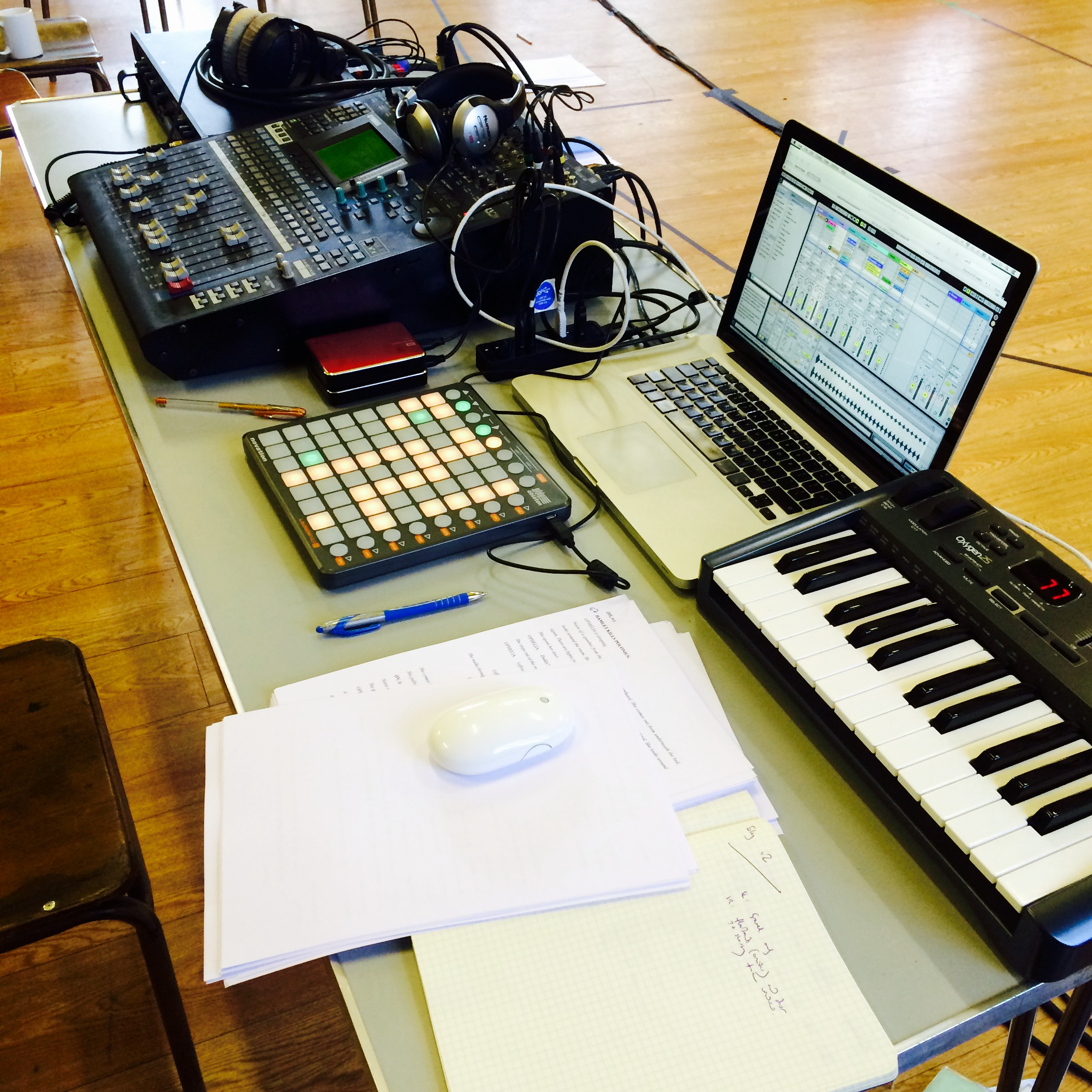 mission control: rehearsal room desk.