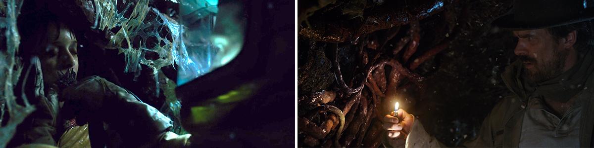 Stranger Things  screenshots, Season 1 (left) and Season 2 (right)