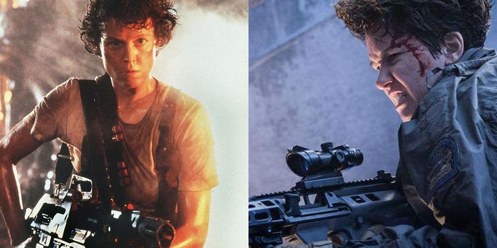 At left is Ellen Ripley in  Alien  (1979)  and at right is Daniels in  Alien: Covenant  (2017)