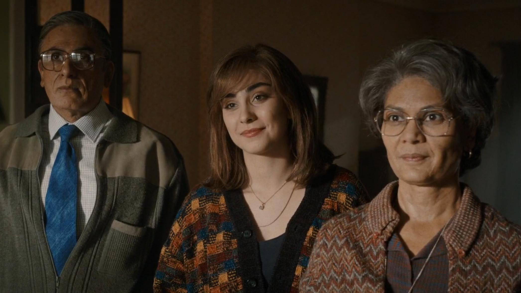 Ace Bhatti, Priya Blackburn, and Meneka Das playing Freddie's father, sister, and mother in  Bohemian Rhapsody