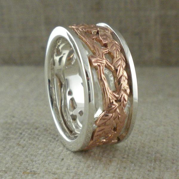 Celtic Tree of Life Ring Silver & 10K Rose Gold