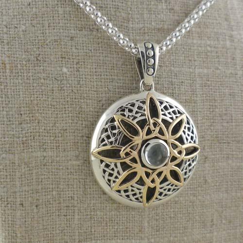 Sterling Silver & 10K Celtic Compass Pendant