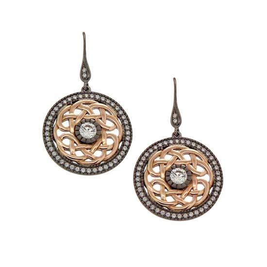 Sterling Silver Ruthenium &10K Rose Warrior Earrings
