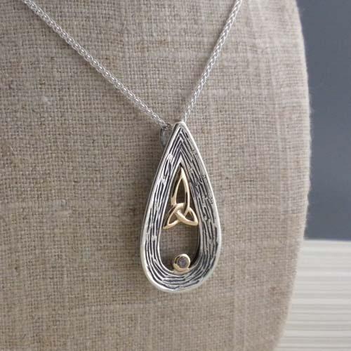 Sterling Silver & 10K Trinity Knot Pendant