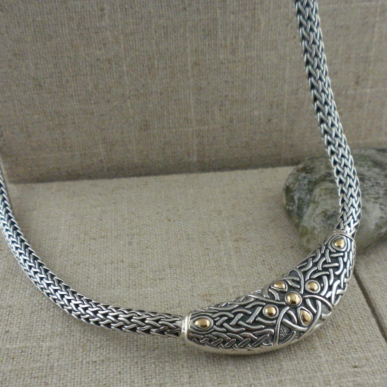 Celtic Labyrinth Necklet in antiqued Sterling Silver & 18K