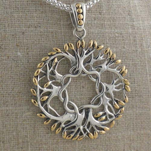 Celtic Tree of Life Pendant in 18K & Sterling Silver