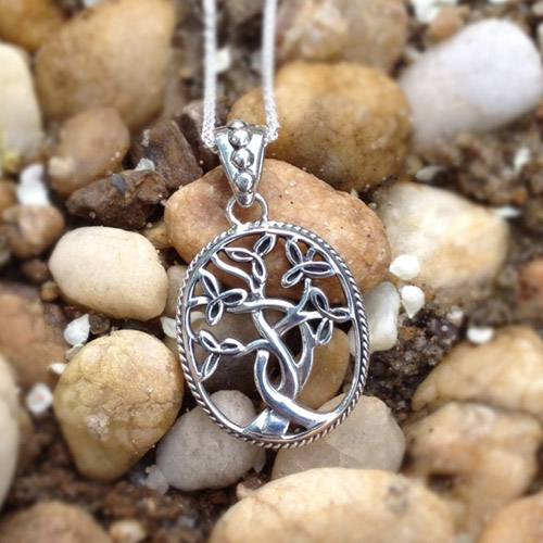 Trinity Knot Tree of Life Pendant in Sterling Silver