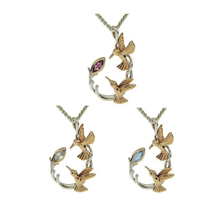 Sterling and 10K Double Hummingbird Pendant with Gem