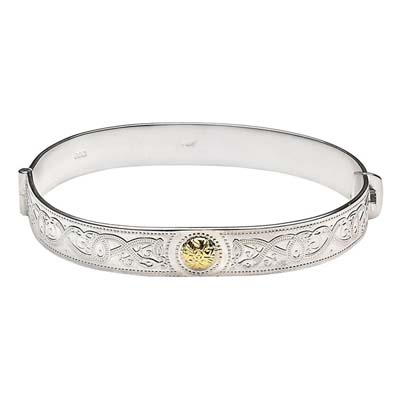 Celtic Warrior Shield Bangle with Gold Bead