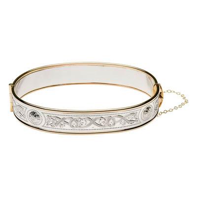 Celtic Warrior Shield Bangle Sterling Silver & Rolled Gold