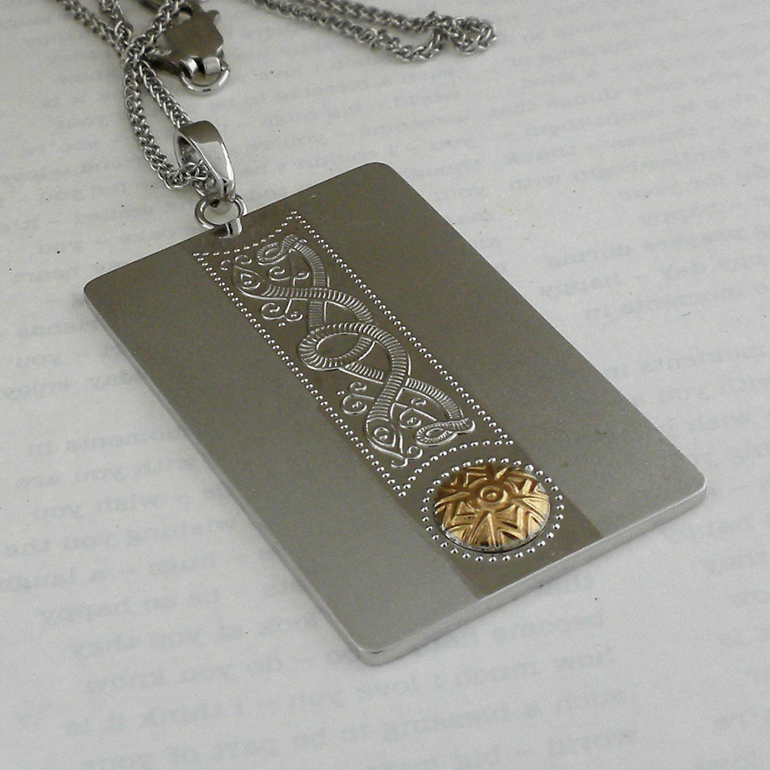 Celtic Warrior Dog Tag Pendant with 18K Gold Bead