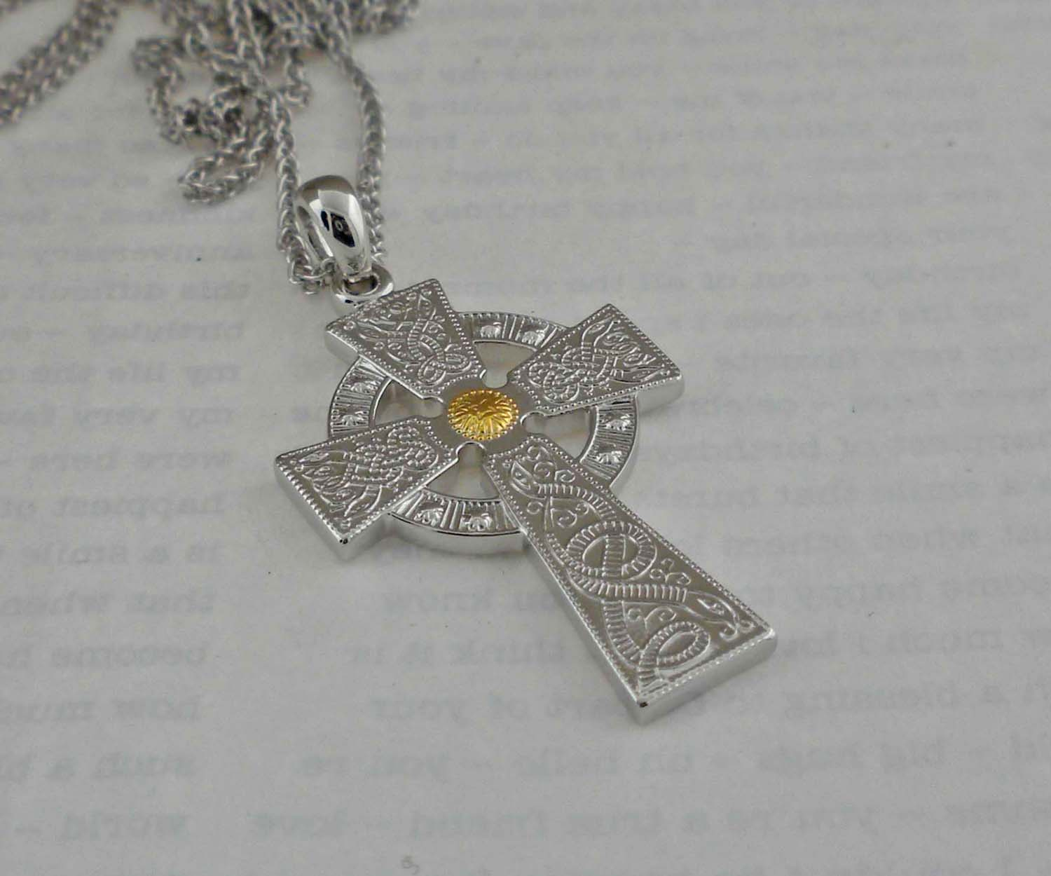Celtic Warrior Shield Cross with Gold Accent
