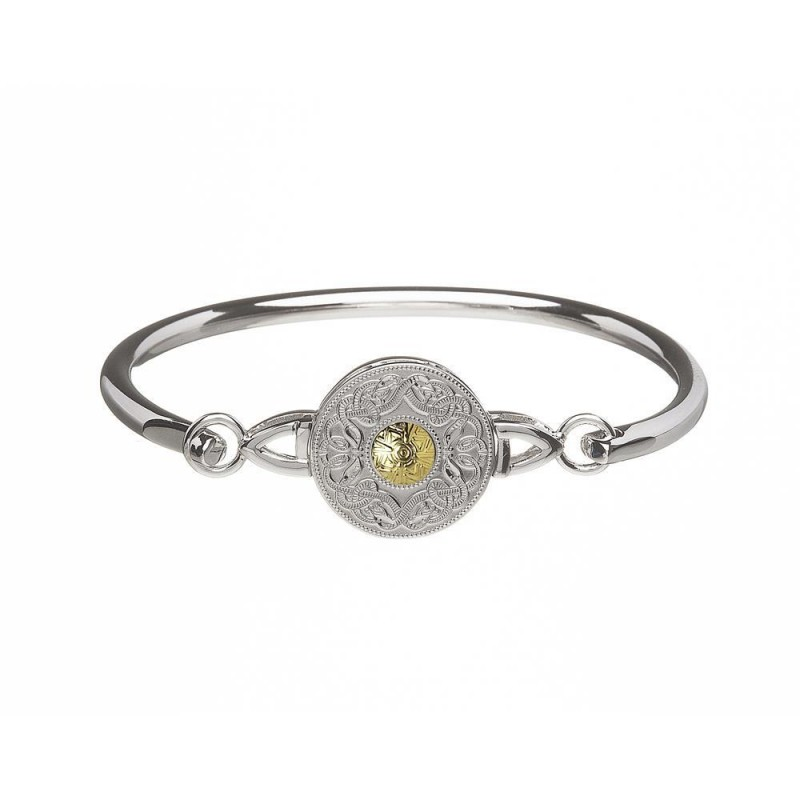 Celtic Warrior Shield Medium Wire Bangle with 18K Gold Bead