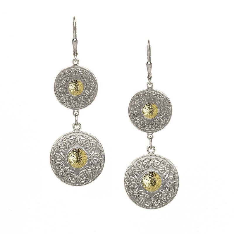 Double Celtic Warrior Earrings with 18K Gold Bead