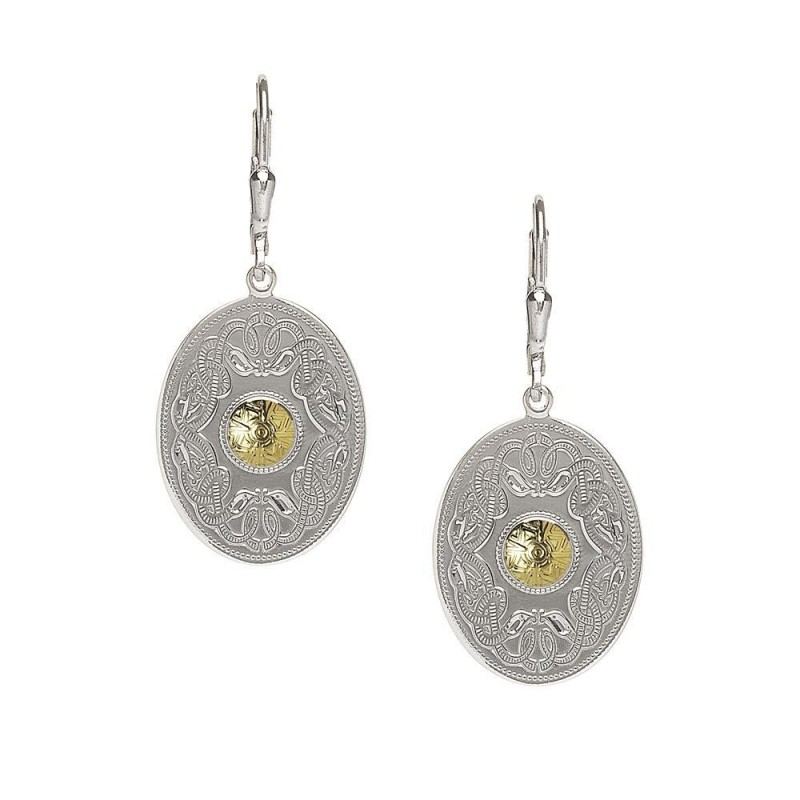 Oval Celtic Warrior Earrings with 18K Gold Bead