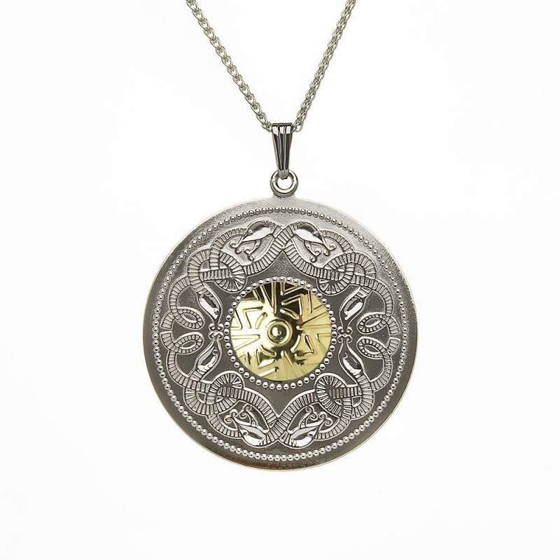 Extra Large Celtic Warrior Pendant with 18K Gold Bead