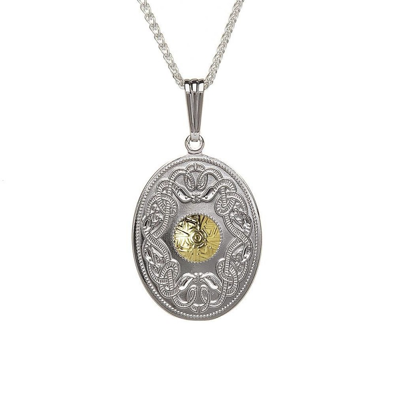 Oval Celtic Warrior Pendant with 18K Gold Bead