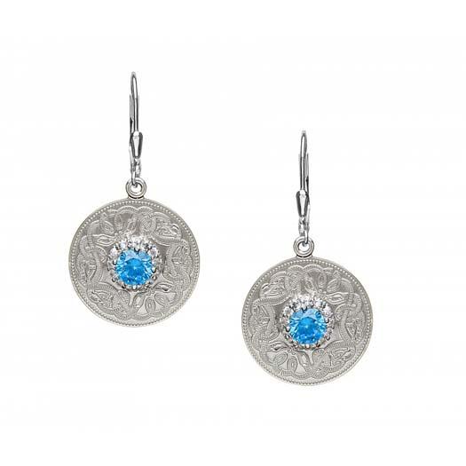 Celtic Warrior Earrings with Swiss Blue CZs