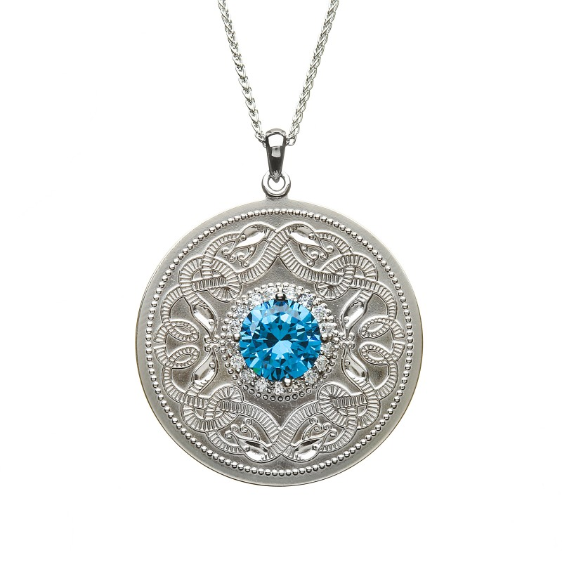 Extra Large Celtic Warrior Pendant with Swiss Blue CZ