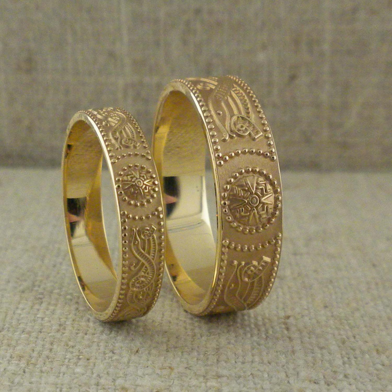 Gold Celtic Warrior Shield Wedding Rings