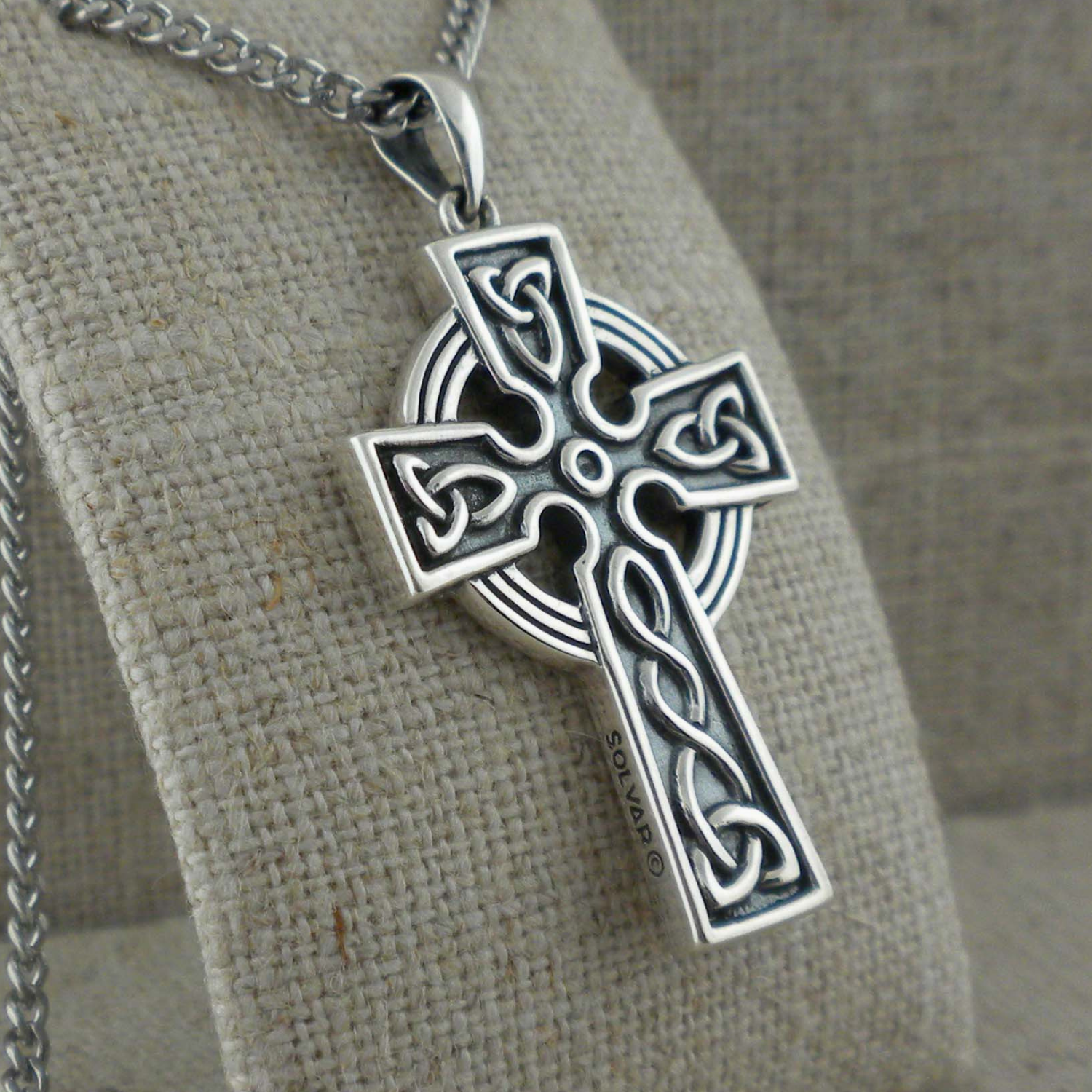 Sterling Silver Large Heavy Double Sided Celtic knot Design Pendant Cross