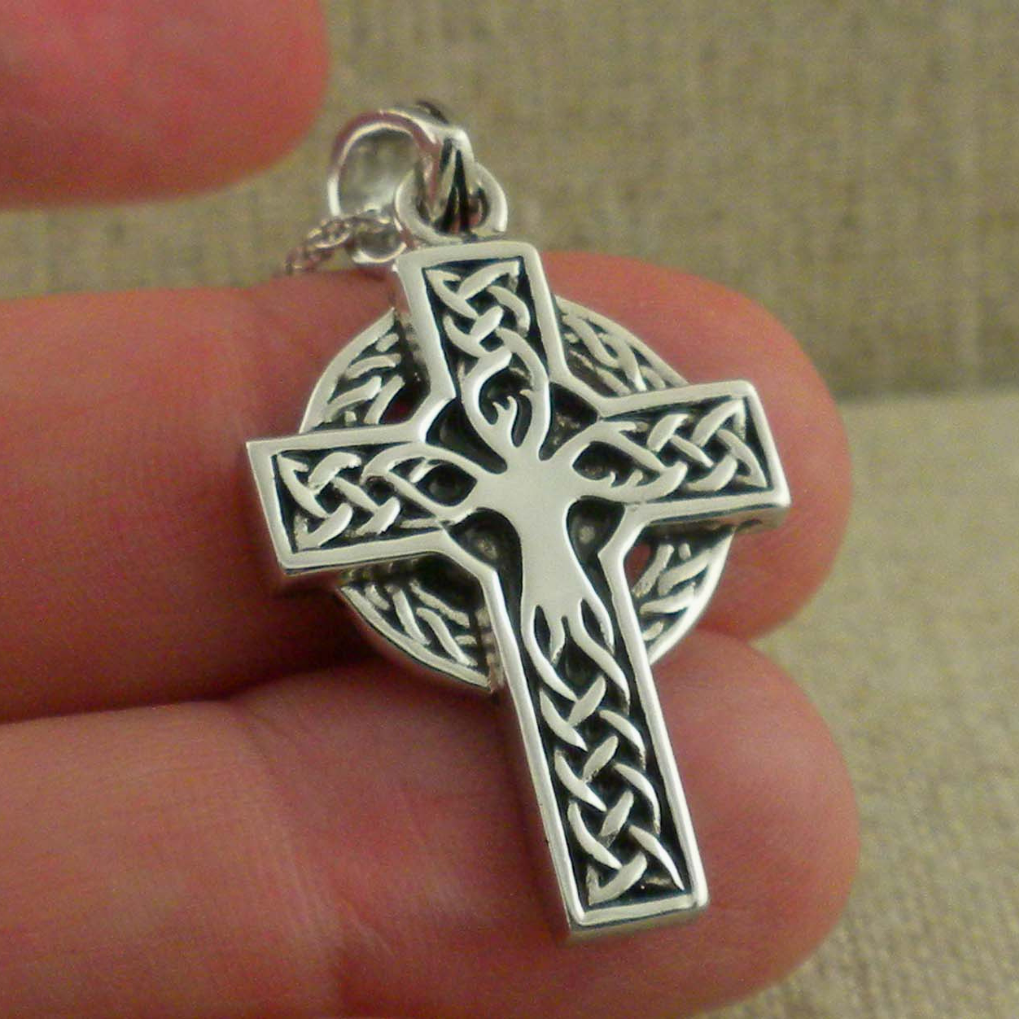 Sterling Silver Tree Of Life Cross Made In Ireland Basil