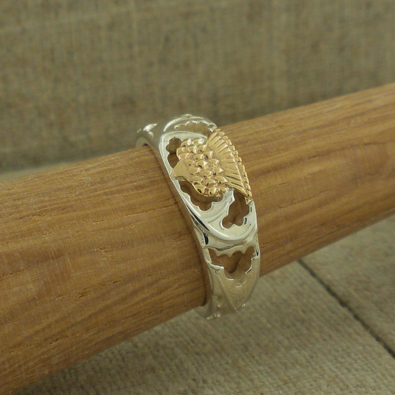 Sterling & 10K Thistle Ring