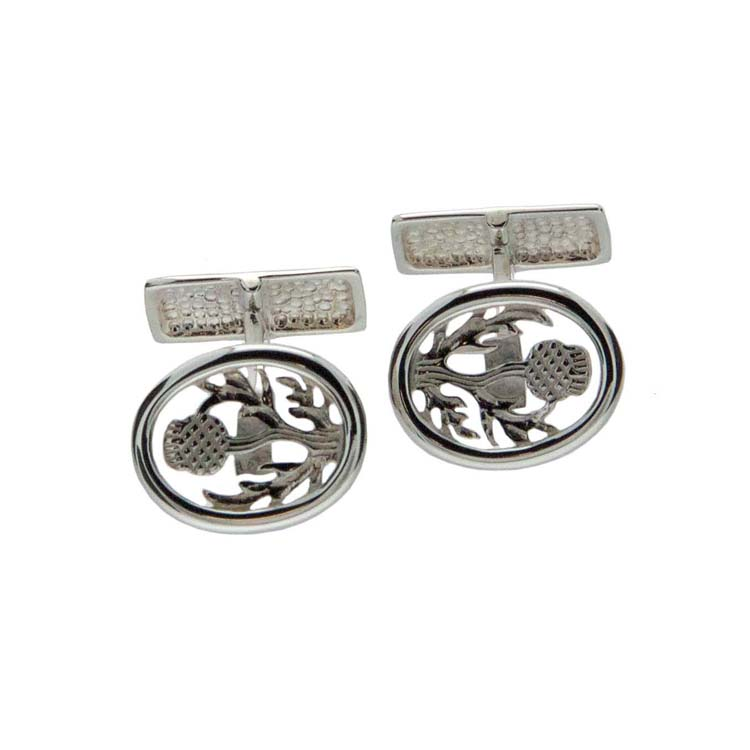 Sterling Silver Scottish Thistle Cuff Links