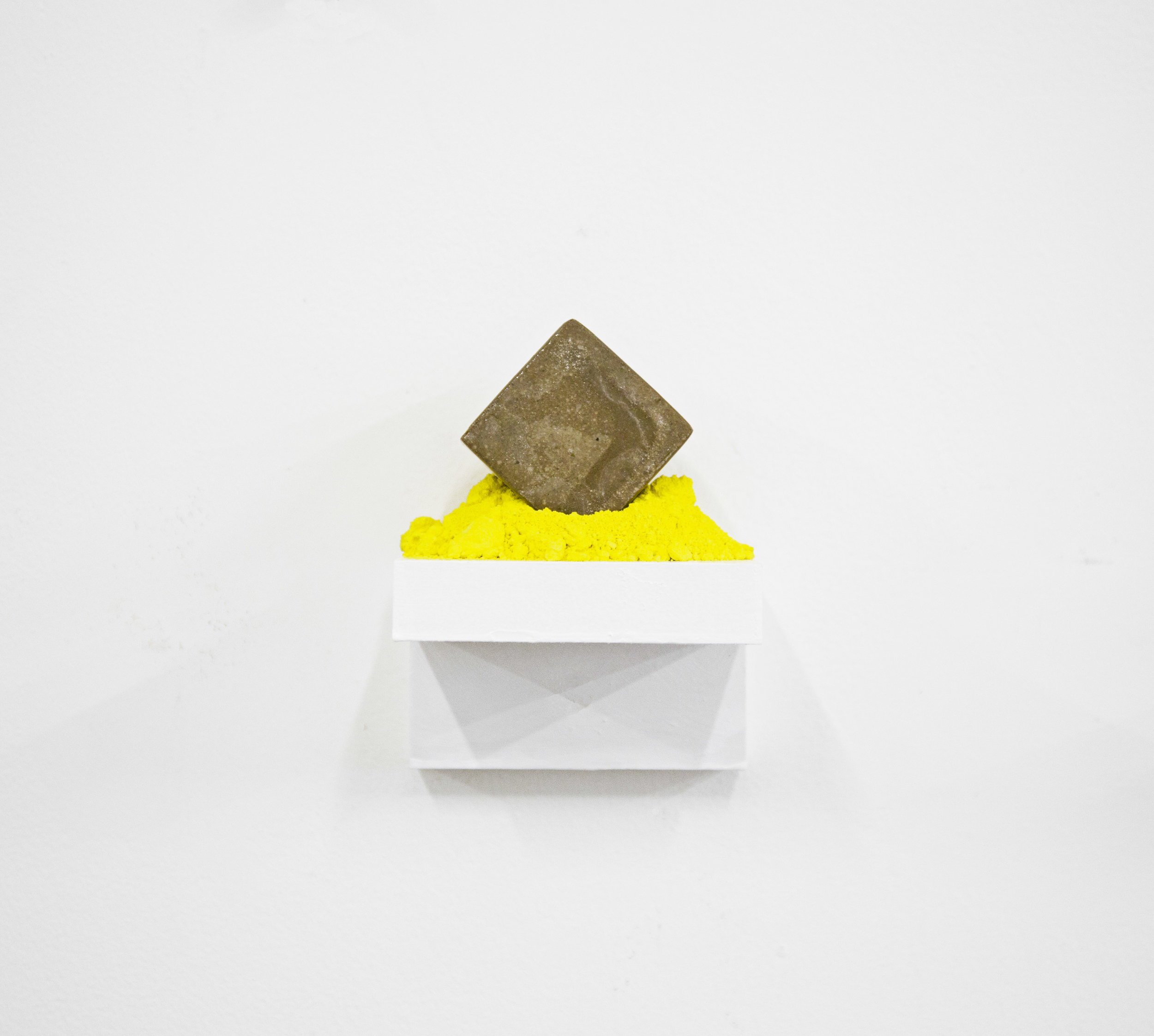 """""""You surrounded me with color Yellow""""                    4x4x4 in, Concrete and Pigment on Wooden shelf, 2017"""