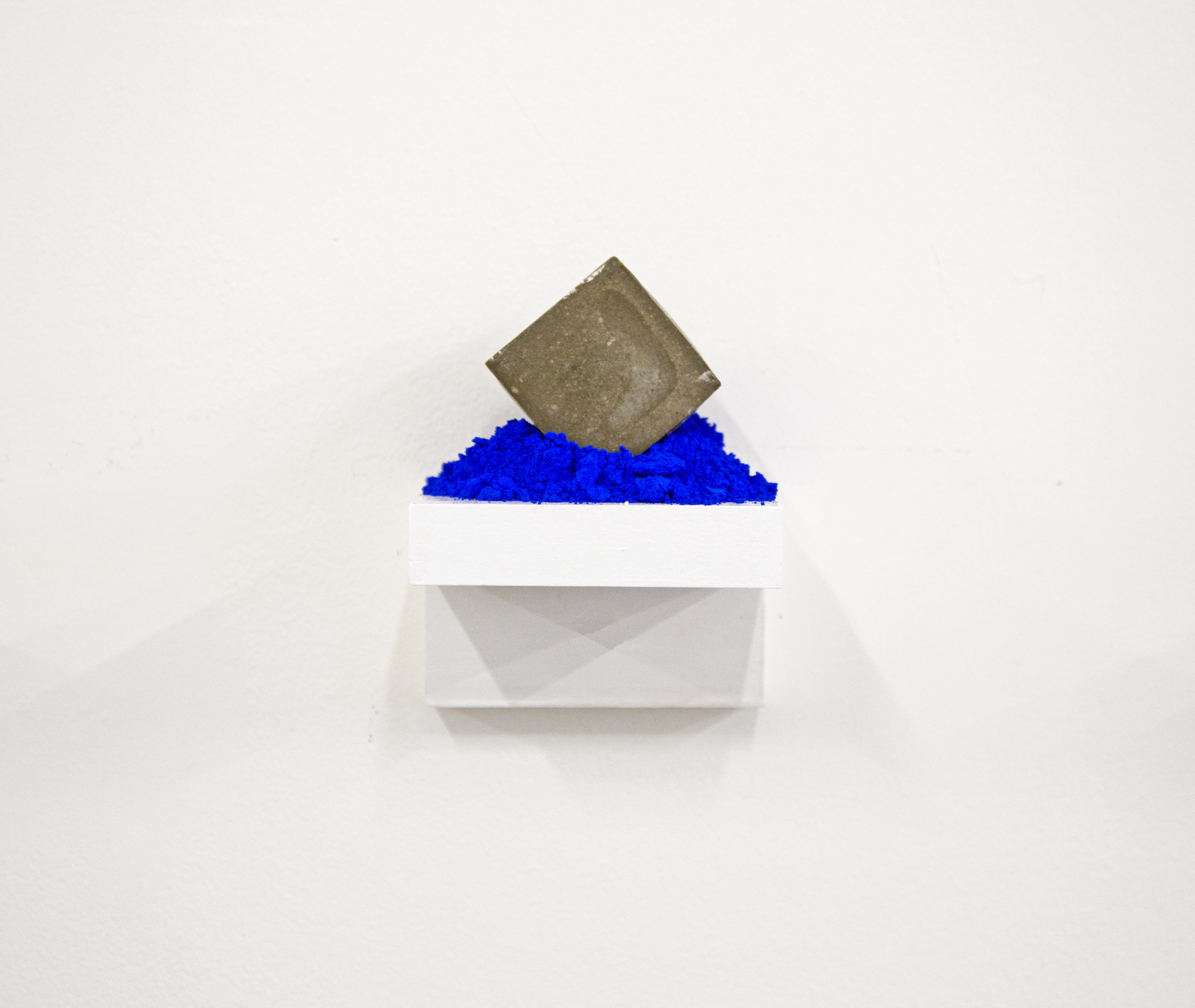 """""""You surrounded me with color Blue""""                   4x4x4 in, Concrete and Pigment on Wooden shelf, 2017"""