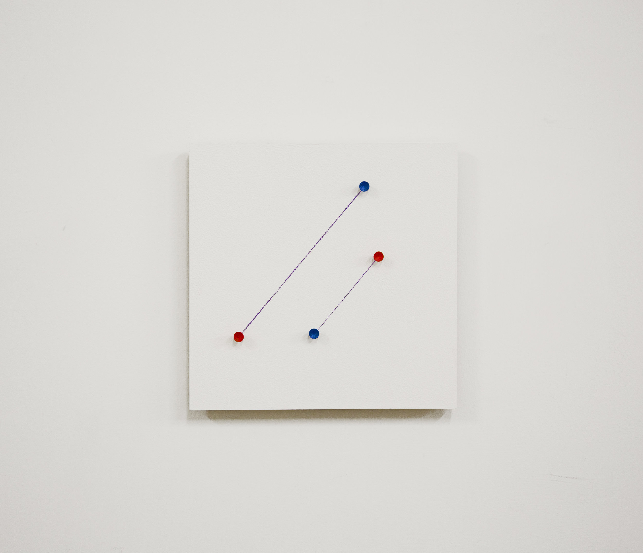 """""""studies""""               12x12x2 in,Acrylic, Gasso, Pencil, and golf tees on Wood,2016"""