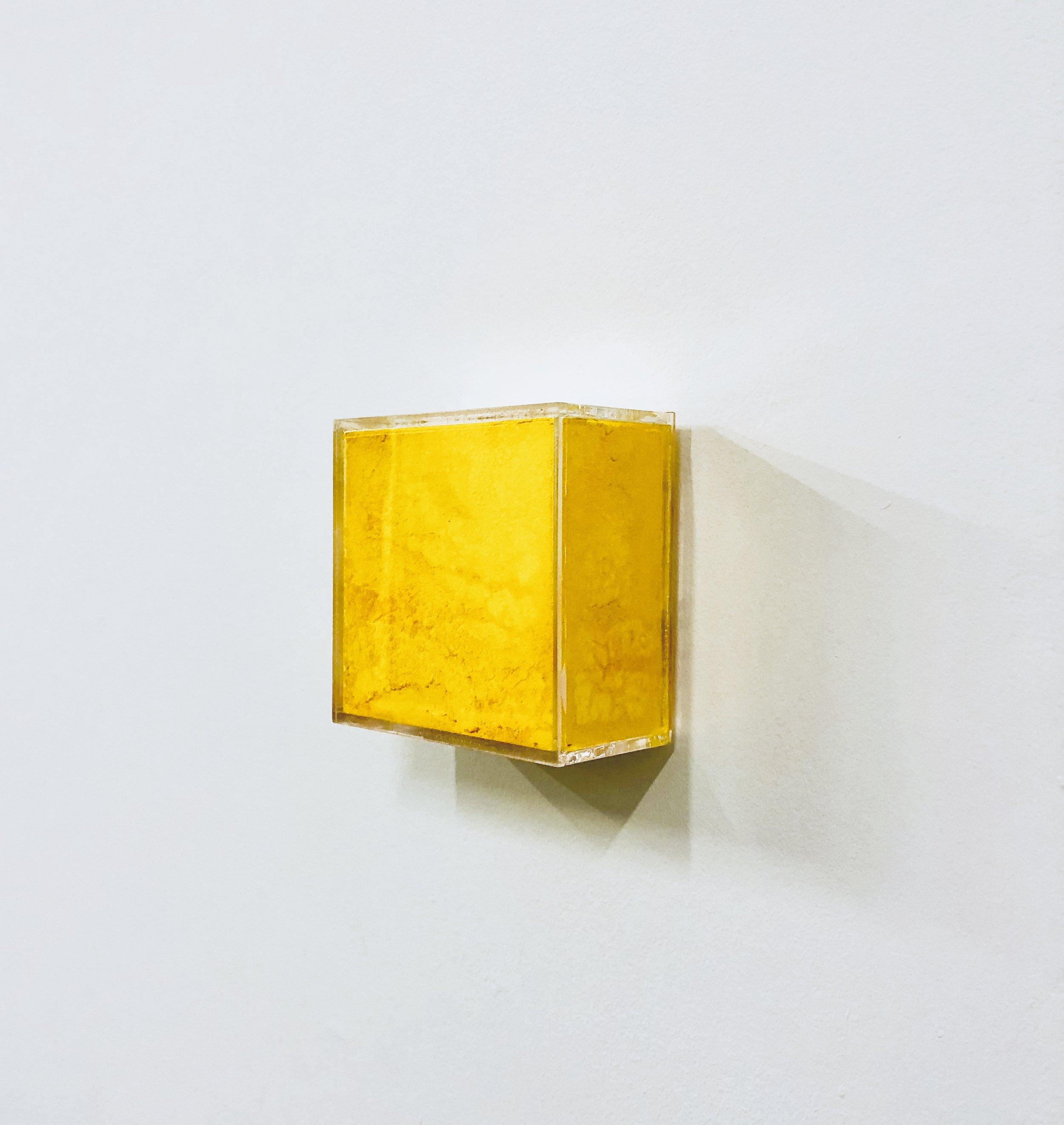 """Yellow Box painting  ,         Raw Pigments in Plexiglas box    10x2 1⁄2""""x10"""" 2018"""