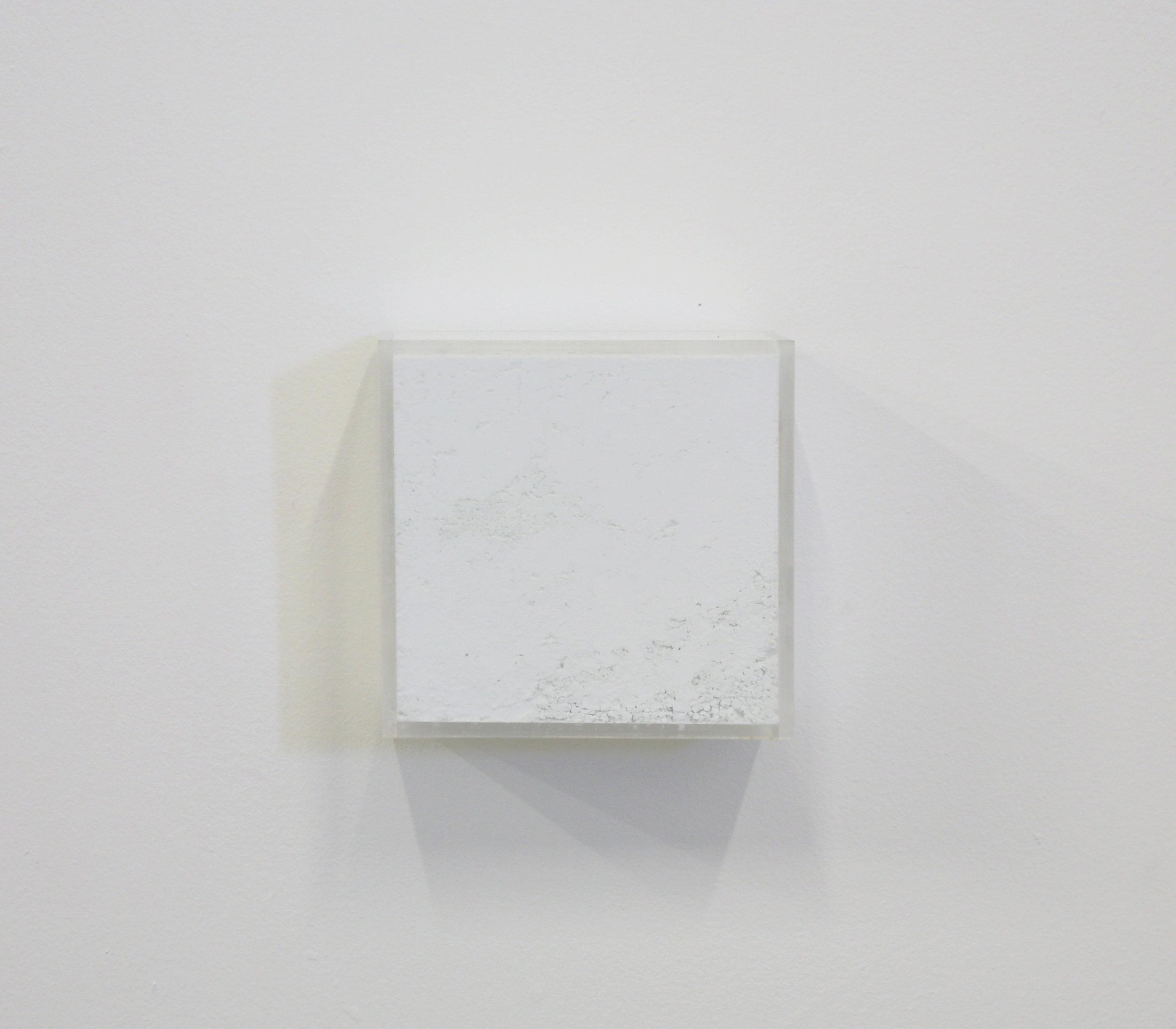"White Box painting  ,         Raw Pigments in Plexiglas box    10x2 1⁄2""x10"" 2018"