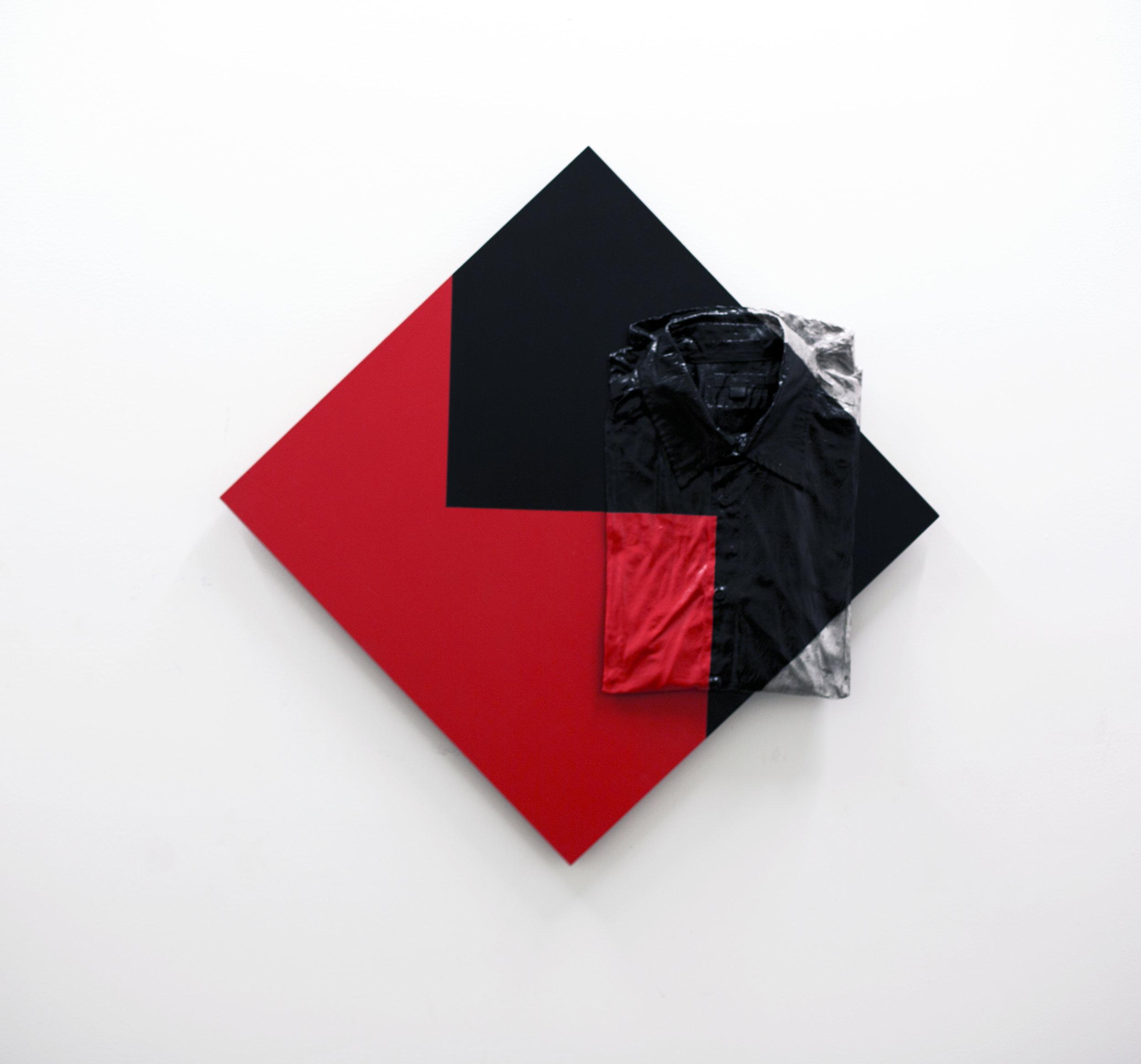 """Interlock object"" (Target no. 99),  28x28x2 ½"" 71x71x6 cm, oil painted aluminium casting on wood, 2018"
