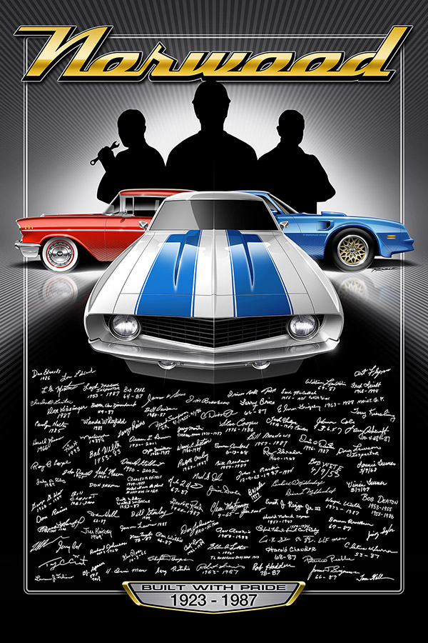 Over 100 signatures from the former Norwood Assembly workforce adorn this limited edition print, made specially for the Norwood Legends Celebration and Car Show which was held on August 26th, 2017 - 30 years to the day since the closure of the Norwood plant in 1987.