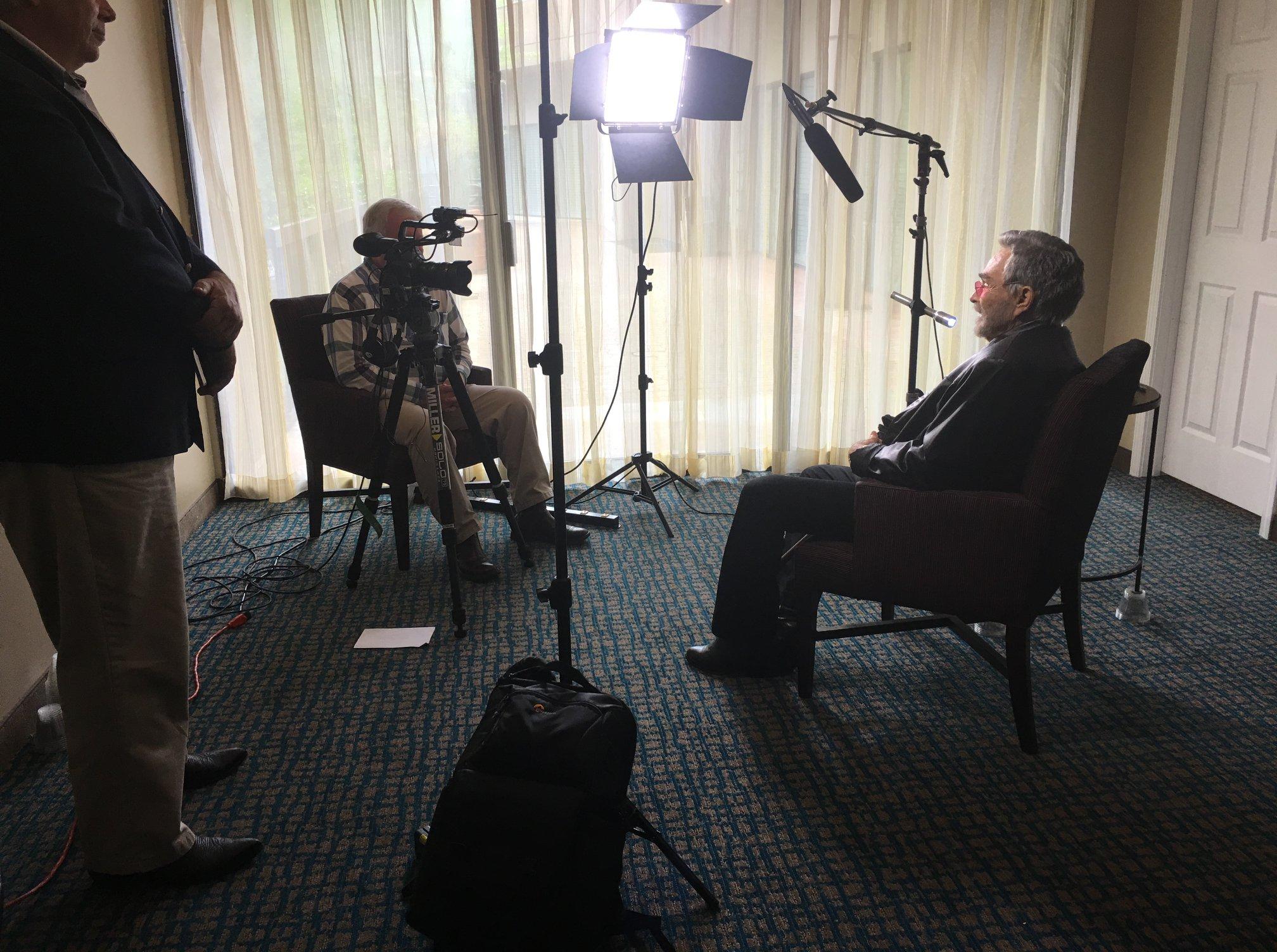 "Alex Money interviewing Burt Reynolds for ""Norwood, Where Legends Were Born"""