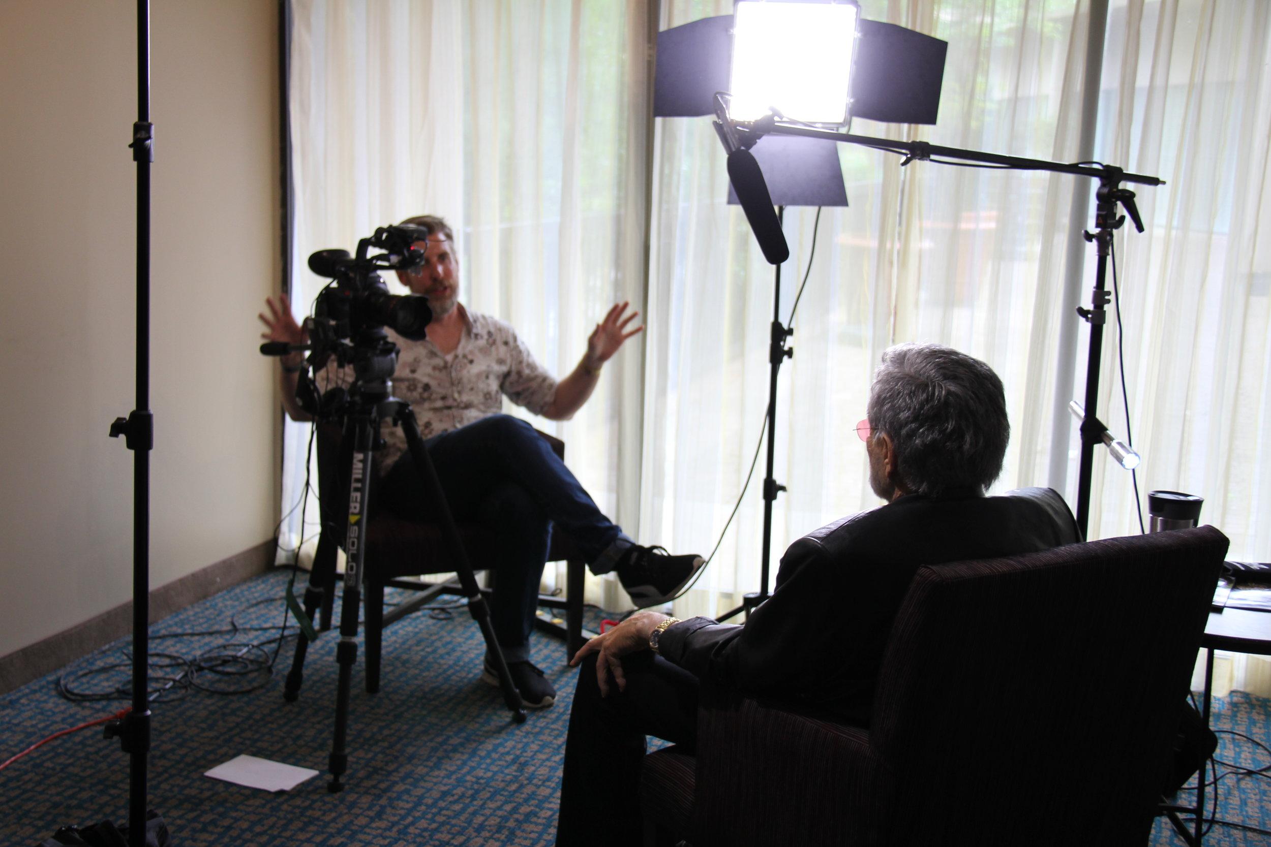 "Drew Money interviewing Burt Reynolds for ""Norwood, Where Legends Were Born"""