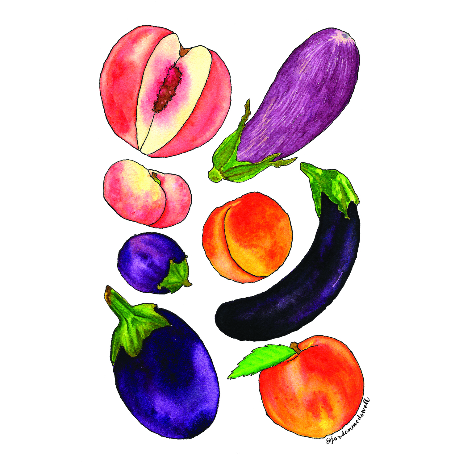 Jordan McDowell Peaches and Eggplant Men and Women Watercolor Illustration