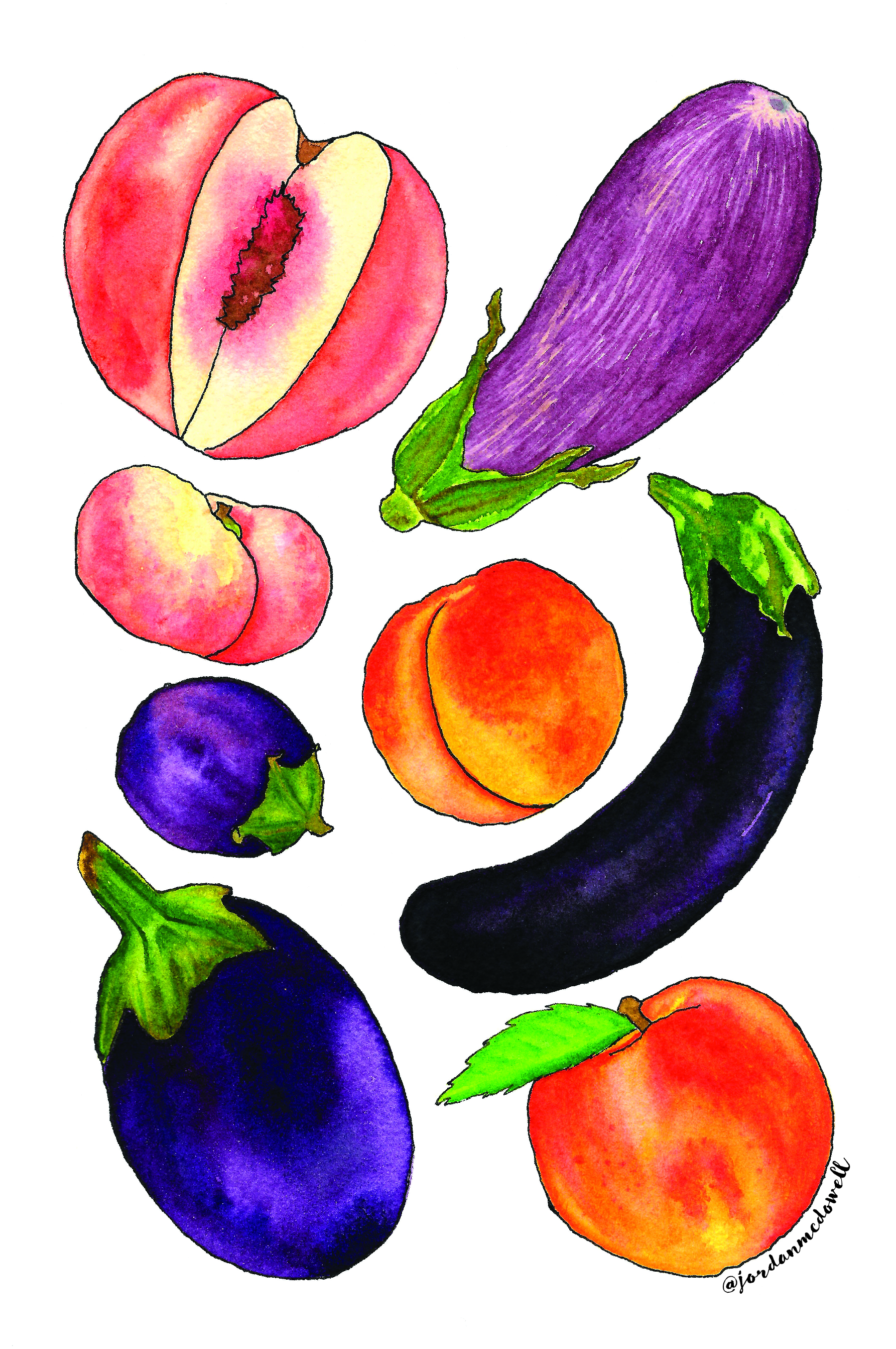 Peaches and Eggplant editorial watercolor illustration Jordan McDowell