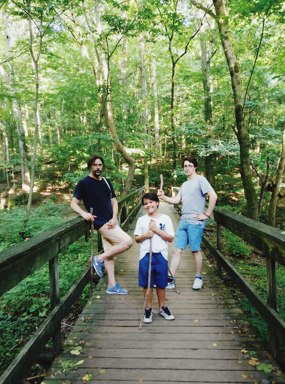 Boys and their sticks. Hiking Radnor Lake.
