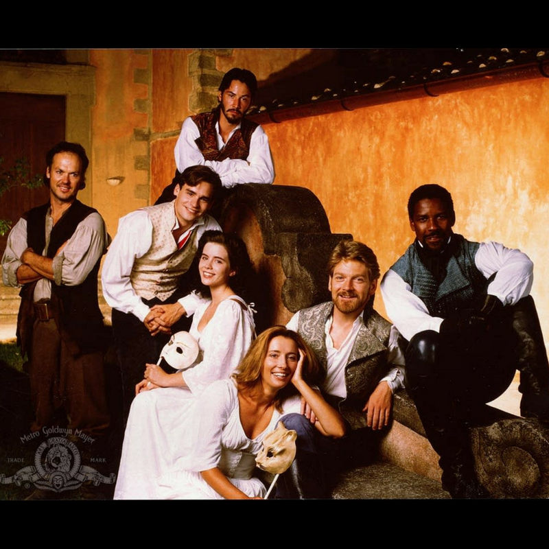The cast of Kenneth Branagh's 1993 film version, replete with flowing sleeves and bonus Baby Kate Beckinsale!