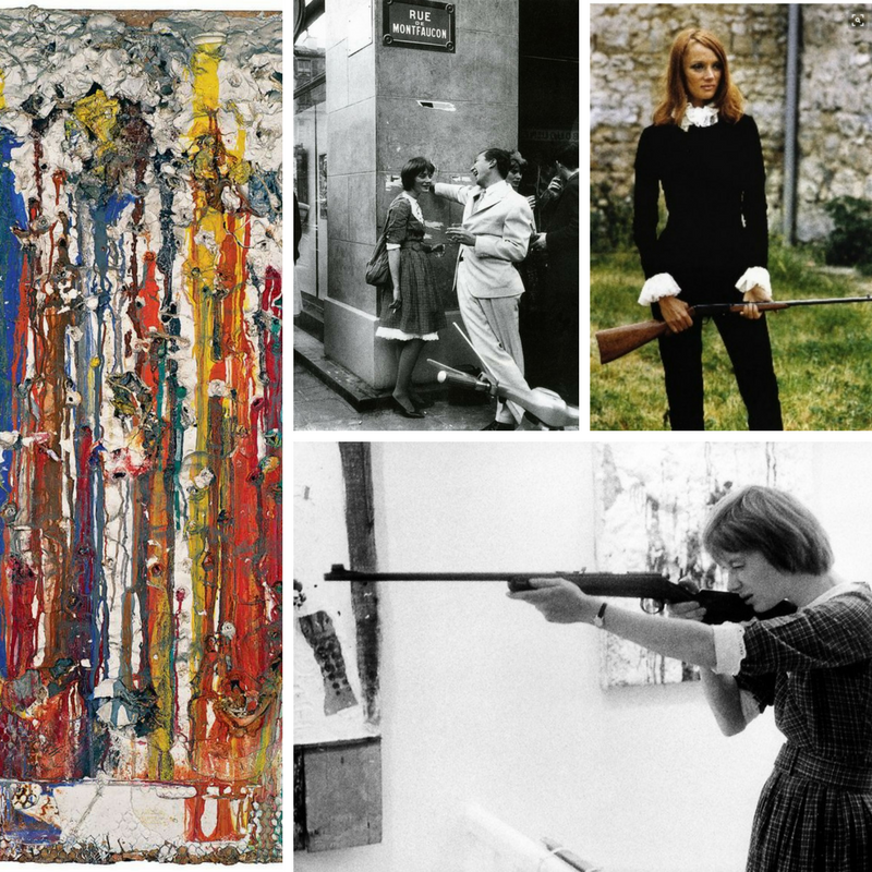 Clockwise from top middle: in Paris with Jasper Johns 1961, dressed up for filming her shooting painting, shooting painting from her 1960 - 1963 Tirs series, detail from a completed shooting painting.