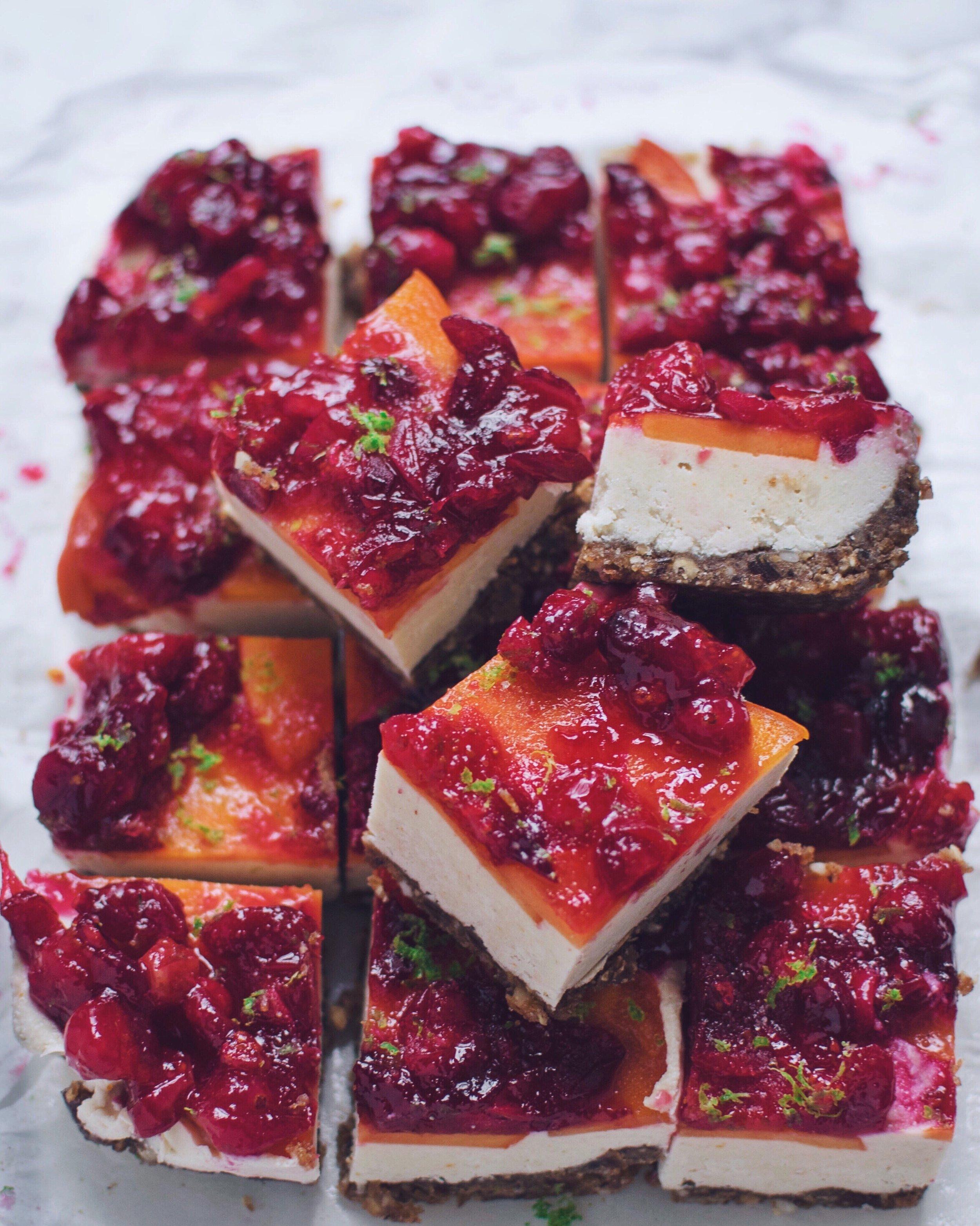 vegan cheesecake bars cranberry persimmon