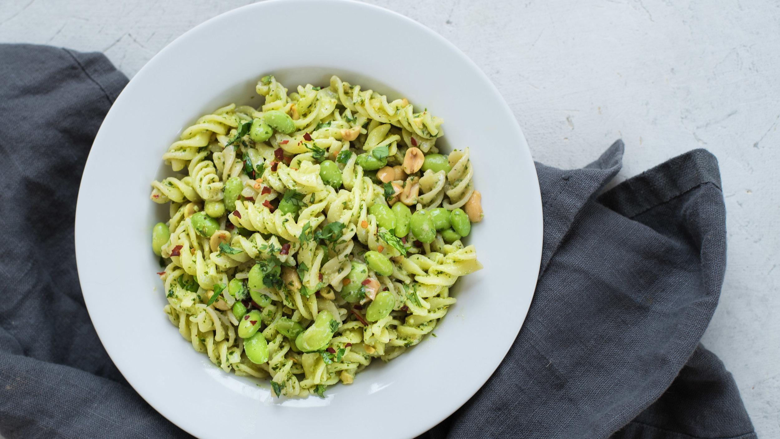 Thai-Inspired Pesto Pasta - Vegan