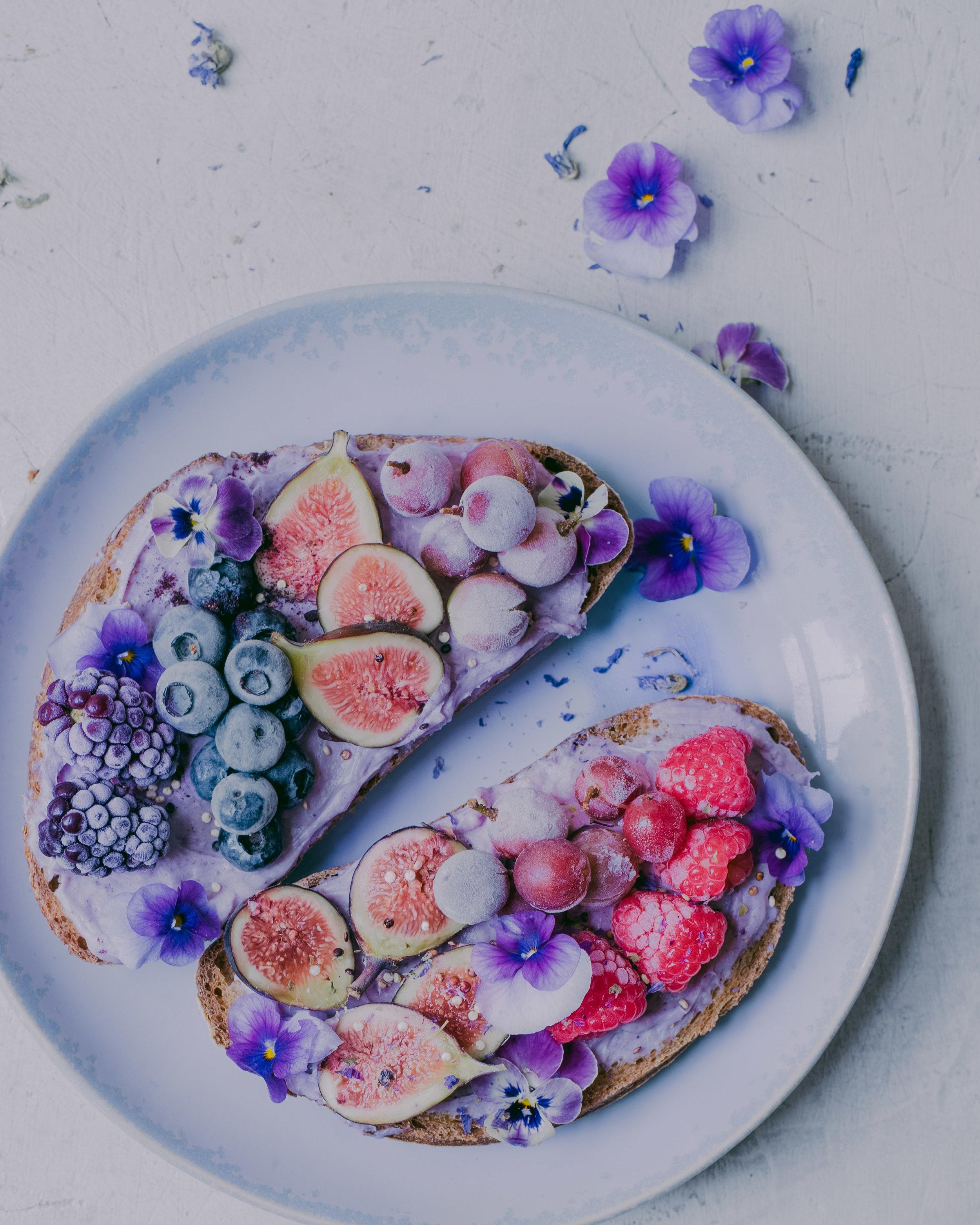 Blueberry Cream Cheese Toast - Vegan